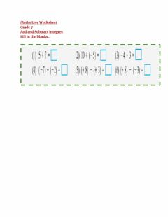 Interactive worksheet Add and subtract integers