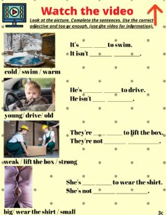 Interactive worksheet Grammar: Adverbs of degree 'enough & too'