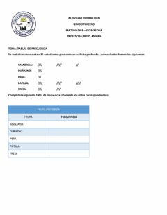 Interactive worksheet TTALLER INTERACTIVO,TABLA DE FRECUENCIA