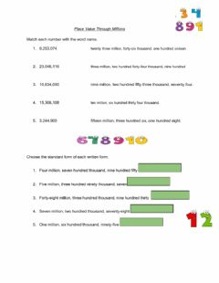 Interactive worksheet Place Value Through millions