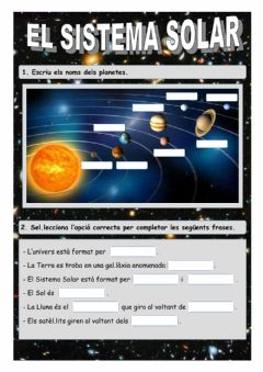 Interactive worksheet El sistema solar
