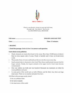 Interactive worksheet Lớp 6 - Unit 11 OUR GREENER WORLD-READING - Sách Mềm