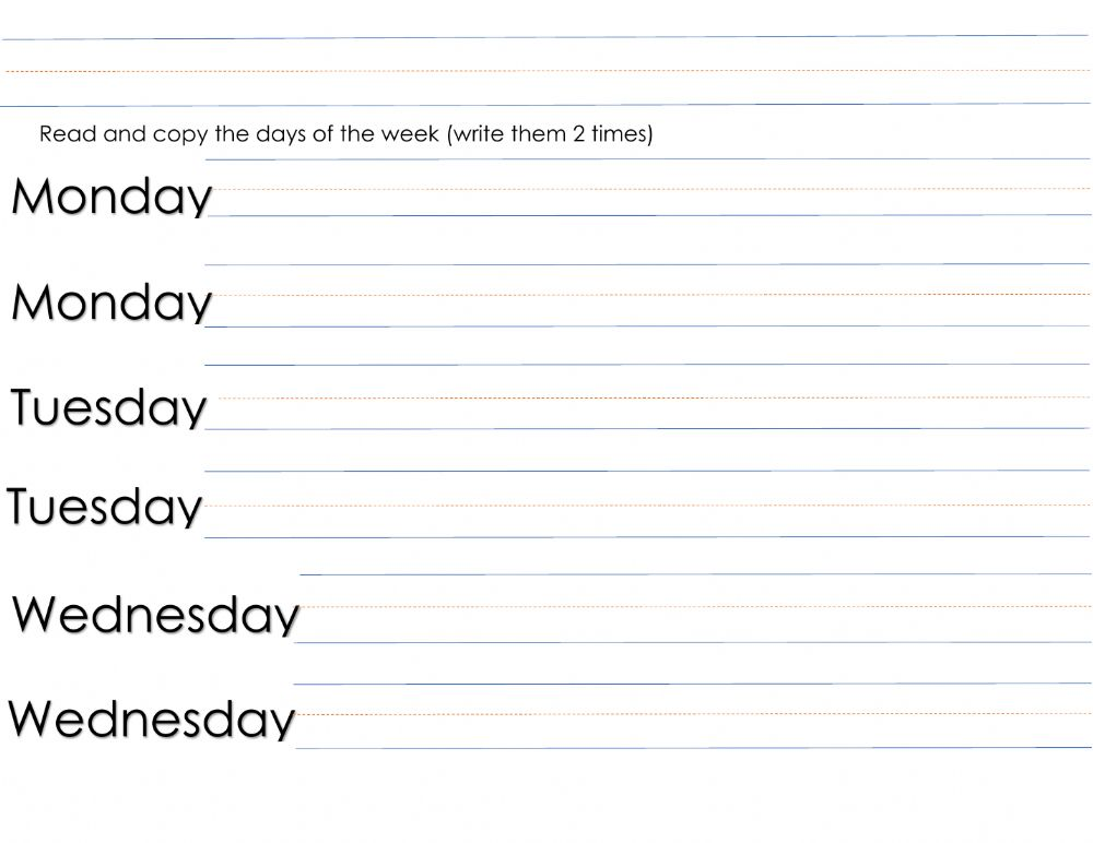 Read And Copy The Days Of The Week Worksheet