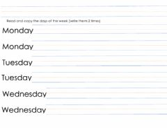 Interactive worksheet Read and copy the days of the week