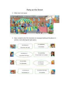 Interactive worksheet Party on the street (Chores)