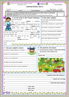 Interactive worksheet Present Continuous - Interrogative Form