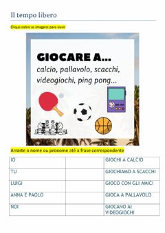 Interactive worksheet Il tempo libero