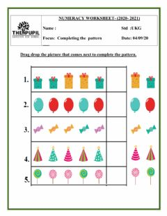 Interactive worksheet Completing the pattern
