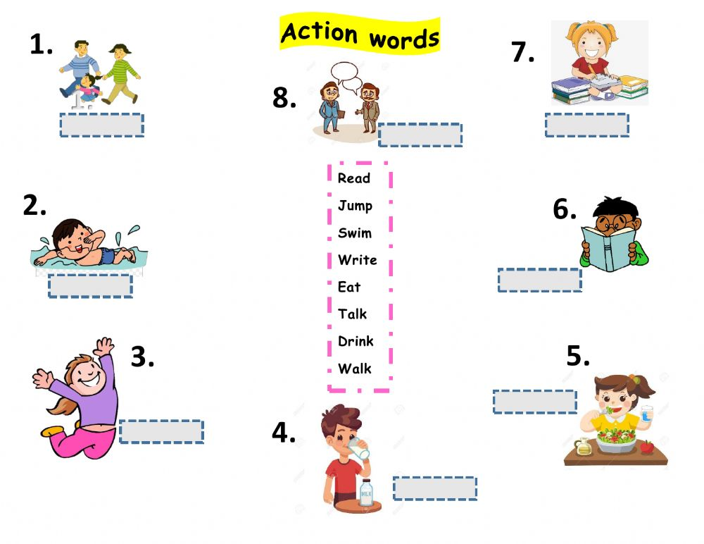 Action Words Exercise For Grade 1