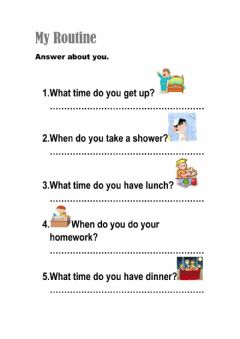 Interactive worksheet When or What time