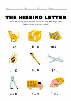 Interactive worksheet Find The Missing Letter