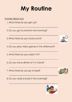 Ficha interactiva Questions about your routine