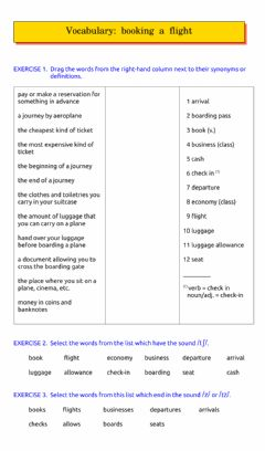 Interactive worksheet Vocabulary: booking a flight