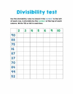 Interactive worksheet Divisibility test