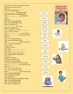 Interactive worksheet She's not just a pretty face - Shania Twain - professions - present simple