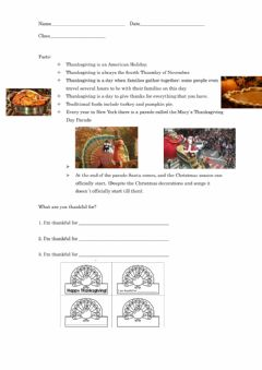 Interactive worksheet I'm thankful for...