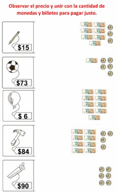 Interactive worksheet Billetes 10 y monedas 1