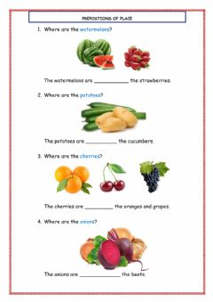 Interactive worksheet Prepositions of place with fruits and vegetables
