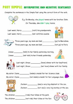 Interactive worksheet Simple Pasat affirmative and negative sentences