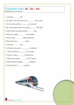 Interactive worksheet Prepositions of Time Bs96-12