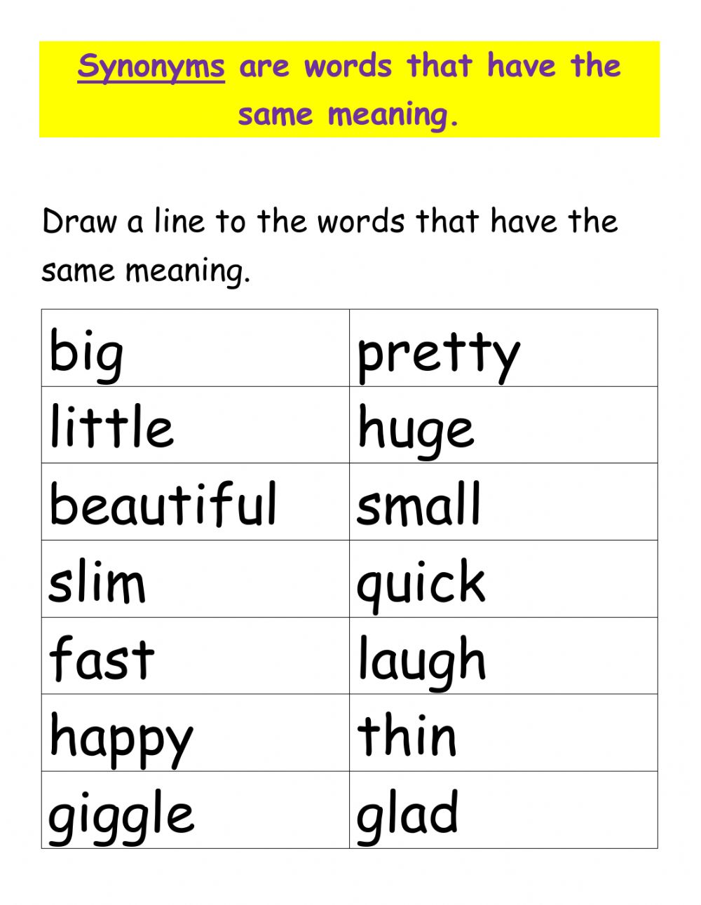 Words that are similar in meaning worksheet