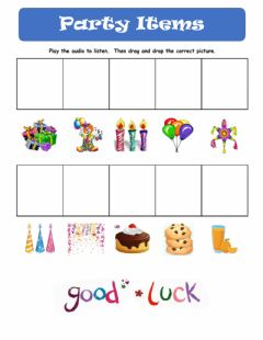 Interactive worksheet Party items