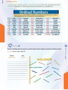 Interactive worksheet Ordinal numbers and holidays