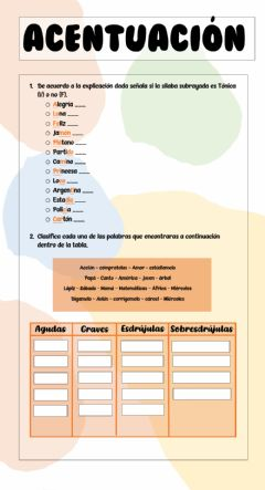 Interactive worksheet Acentuación