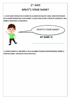 Ficha interactiva 2º ano - what's your name?