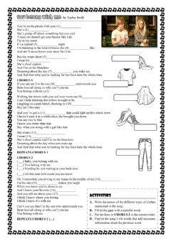 Interactive worksheet You belong with me - Taylor Swift