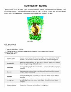 Interactive worksheet Sources of Income Worksheet