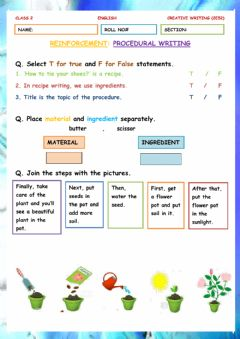 Interactive worksheet Reinforcement -Procedural Writing