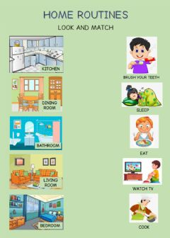 Interactive worksheet House Routines