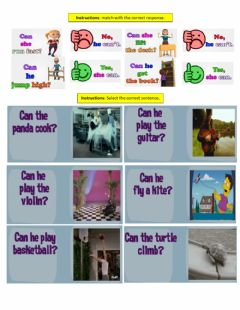 Interactive worksheet Can & Can-t she-he