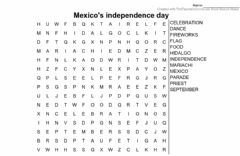 Interactive worksheet Mexico's independance day wordsearch