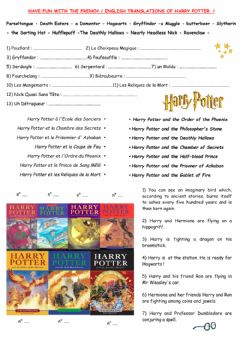 Interactive worksheet Harry Potter in English and French