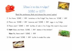 Ficha interactiva What's in the fridge? SOME or ANY