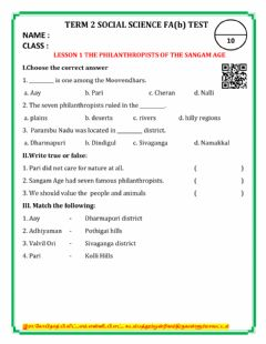 Interactive worksheet Term 2 social 1.the philanthropists of sangam age