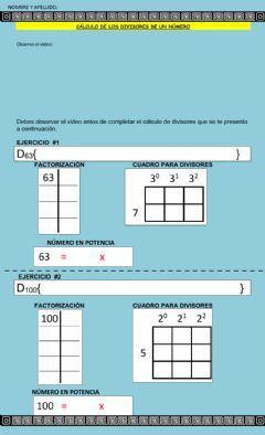 Interactive worksheet Divisores por factorización