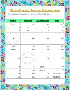 Interactive worksheet Circumference and Area of Circles