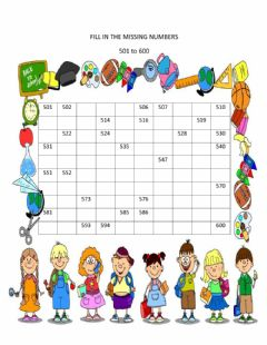 Interactive worksheet Fill in the Missing Numbers 501 to 600