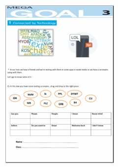 Interactive worksheet Texting acronyms