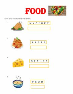 Interactive worksheet Food Unscramble the letters