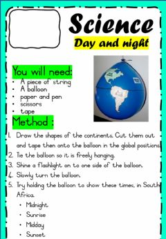 Interactive worksheet Science 23 - Experiment - Day & Night