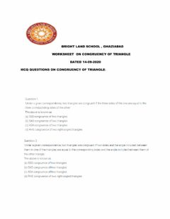 Interactive worksheet Congruency of the triangle