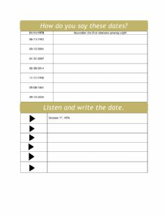 Interactive worksheet The Date in American English
