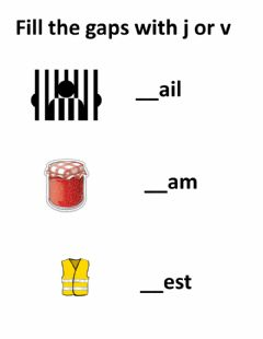 Interactive worksheet fill in the gaps(j and v)
