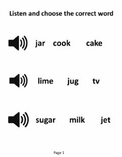 Interactive worksheet listen and select (j and v)
