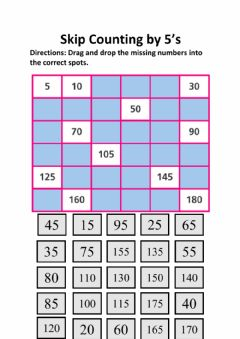 Interactive worksheet Skip Counting by 5's