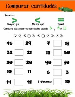 Interactive worksheet Comparar cantidades
